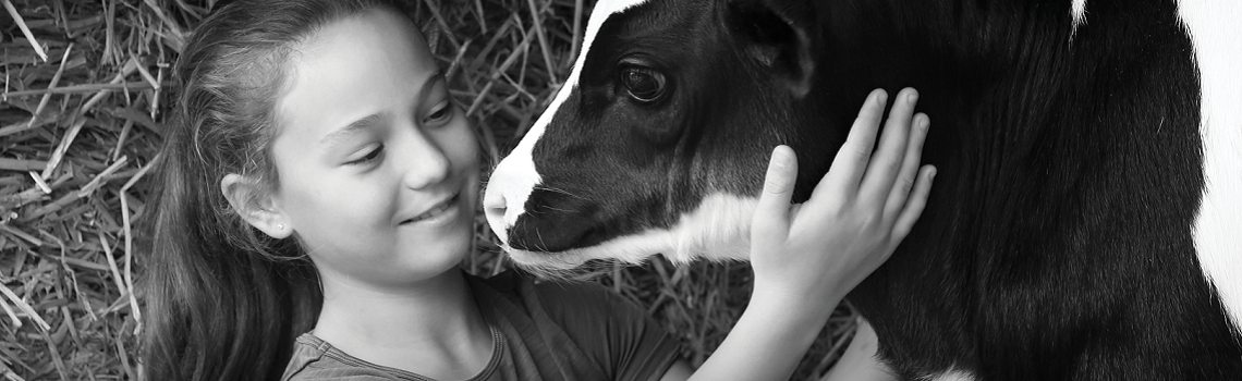 Image of young girl holding a calves face in her hands