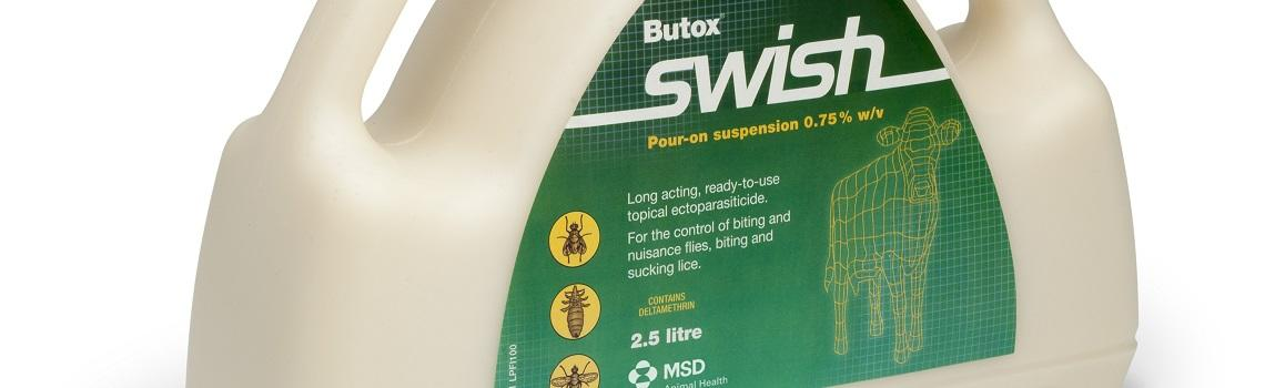 Image of Butox Swish bottle and dosing gun next to it's cardboard carton