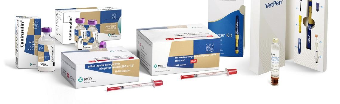 Zoomed in image of Caninsulin and VetPen range showing product name