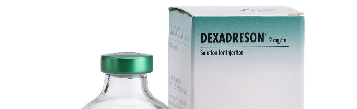Image of Dexadreson bottle next to it's cardboard carton