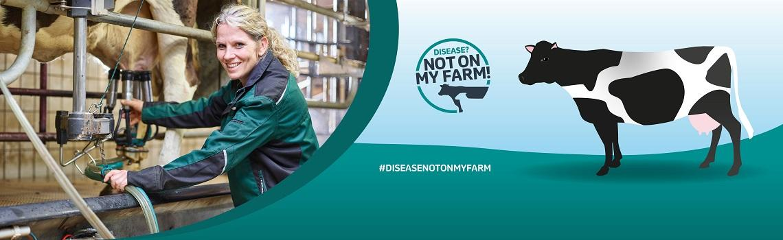 Disease? Not On My Farm! banner with photo of farmer and image of cow