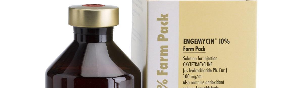 Image of  Engemycin farm pack bottle next to it's cardboard carton
