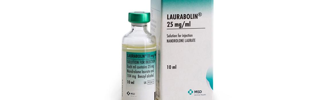 Zoomed in image of laurabolin 10 ml bottle next to cardboard carton