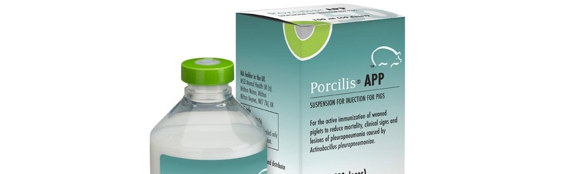 image of Porcilis APP bottle next to cardboard carton