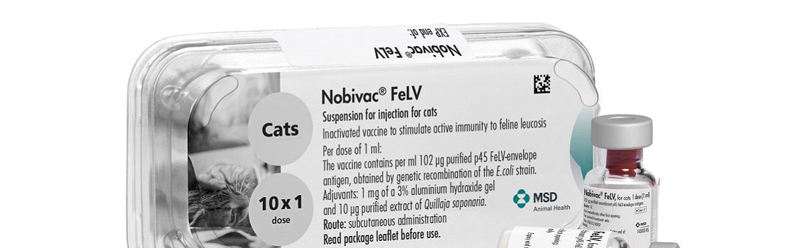 Zoomed in image of Nobivac FeLV carboard carton