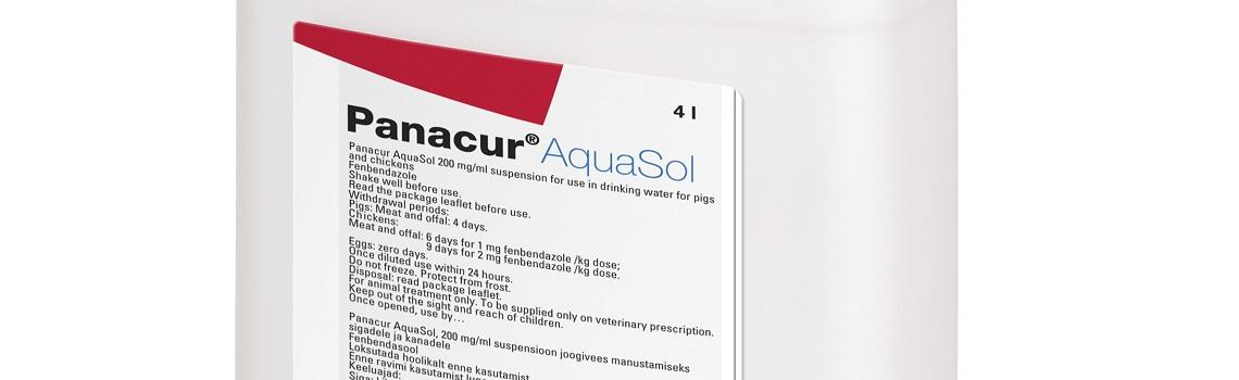 Zoomed in image of  Panacur Aquasol carton showing product name