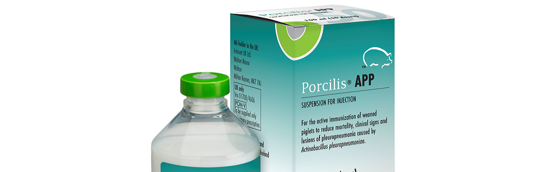 image of Porcilis APP bottle next to cardboard carton