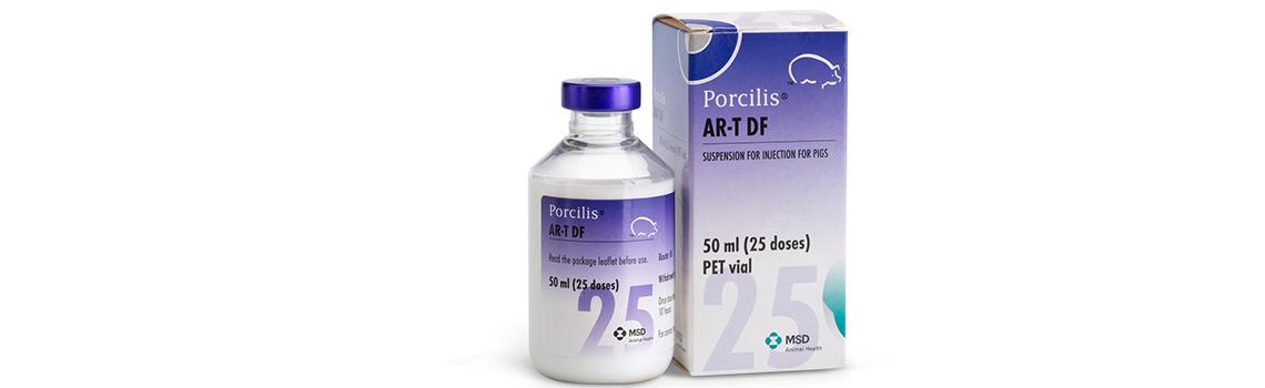 image of Porcilis AR -T DF bottle next to cardboard carton