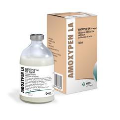 Image of Amoxypen LA bottle next to it's cardboard carton