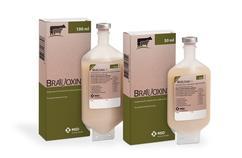 Image of Bravoxin 10 bottle next to it's cardboard carton