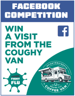 "Infographic showing facebook competition ""win a visit from the coughy van"""
