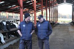 Vet Oliver Hodgkinson (left) with farmer