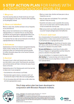 Information sheet detailing how to prevent and treat cryptosporidium outbreaks