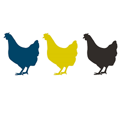Clipart of three chicken silhouettes