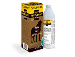 Image of Coopers Fly Repellent Plus bottle next to it's cardboard carton