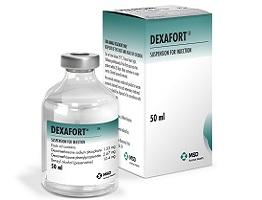 Dexafort bottle next to cardboard carton