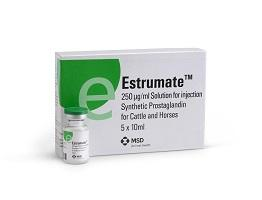 Image of Estrumate vial next to it's cardboard carton