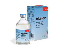 Image of Nuflor bottle, next to it's cardboard carton