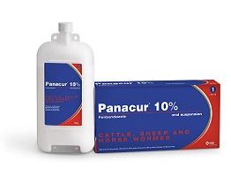 Image of Panacur® 10 % Oral Suspension bottle next to it's cardboard carton
