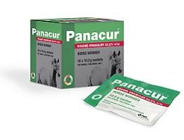 Packshot of  Panacur Equine Granules sachet and cardboard carton