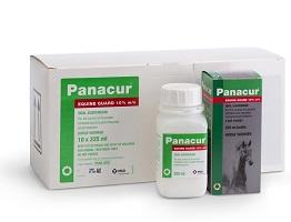Packshot of  Panacur Equine Guard container and cardboard carton