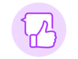 Image of speech bubble with a thumbs up illustration