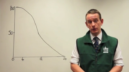 Image of vet standing next to graph on whiteboard
