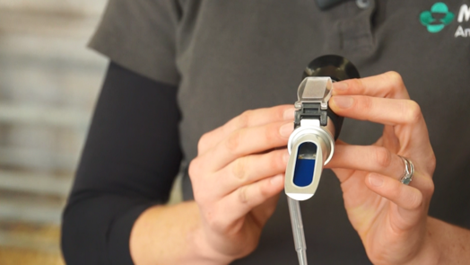 Image of vet holding refractometer