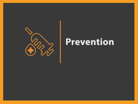 """Image of text """"Prevention"""" next to icon of vaccine needle and plus symbol"""