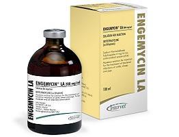 Image of Engemycin LA bottle next to it's cardboard carton