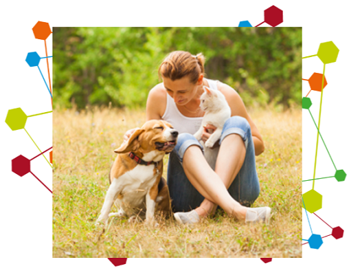 Image of a women sitting on the grass with a Beagle and white kitten
