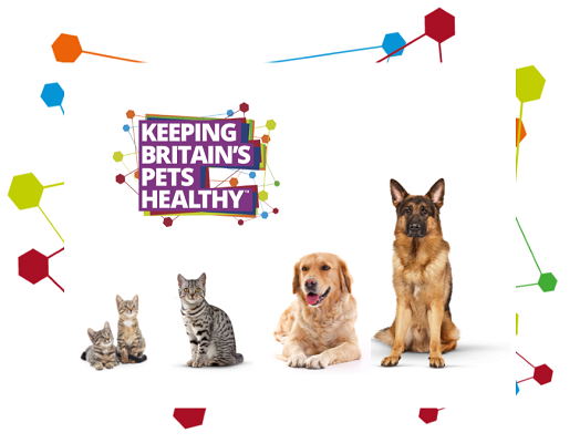 Image of two kittens, one cat and two dogs next to Keeping Britain's Pets Healthy logo
