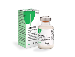 Image of Leptavoid H bottle and plastic vial next to their cardboard cartons, from MSD Animal Health