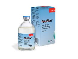 Image of Nuflor bottle, next to it's cardboard carton