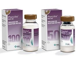 Packshot of Porcilis PCV ID bottle next to cardboard carton