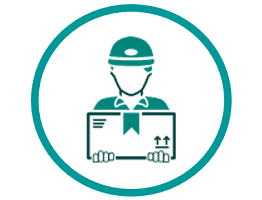 Image of an icon of a person holding a parcel
