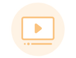 Image of an orange icon with an illustration of a video