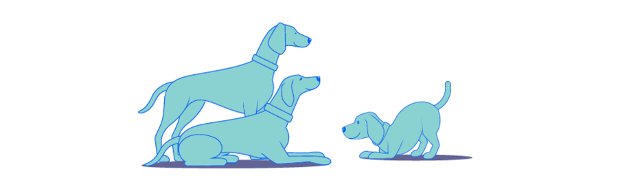 Image of an illustration of a small dog saying hello to two large dogs