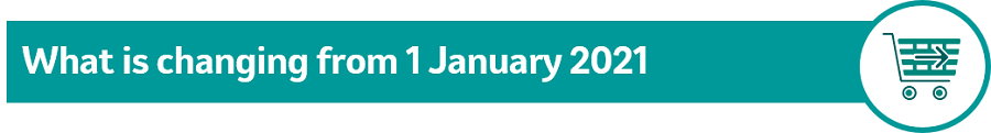 """Image of text """"what is changing from 1 January 2021 with shopping icon"""